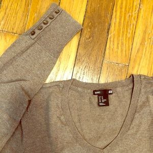 Knit Top | H&M V-neck Long Sleeve (Light Brown)